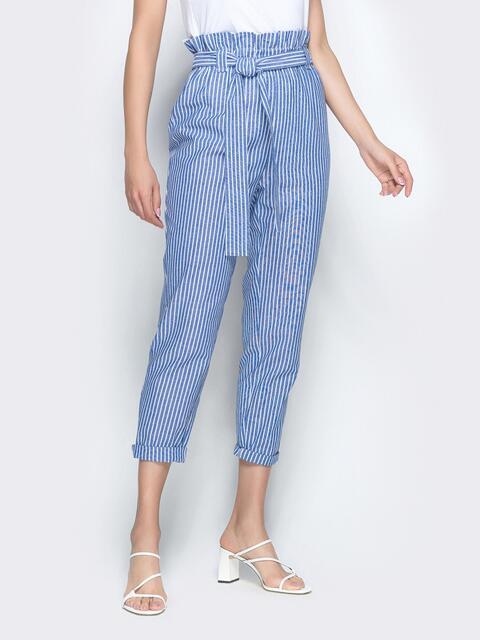 Укороченные брюки в полоску с высокой посадкой голубые - 39500, фото 1 – интернет-магазин Dressa