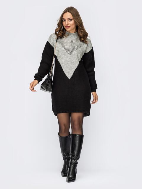 Вязаное платье чёрного цвета с контрастной вставкой 54886, фото 1