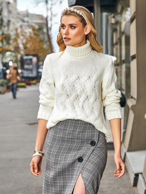 Ажурный свитер с высоким воротником и манжетами белый - 42045, фото 1 – интернет-магазин Dressa