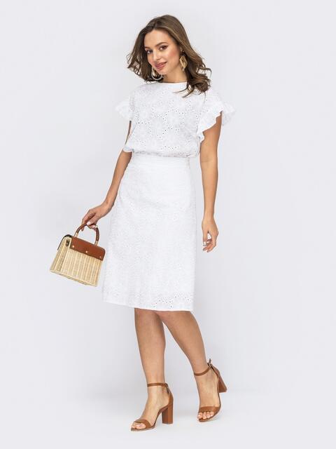 Костюм из блузки и юбки белого цвета 53768, фото 1