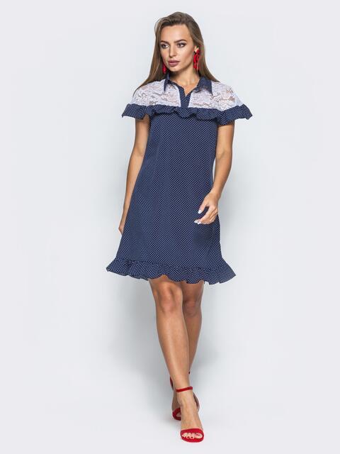 Тёмно-синее  платье с оборкой и вставкой из гипюра - 14626, фото 1 – интернет-магазин Dressa