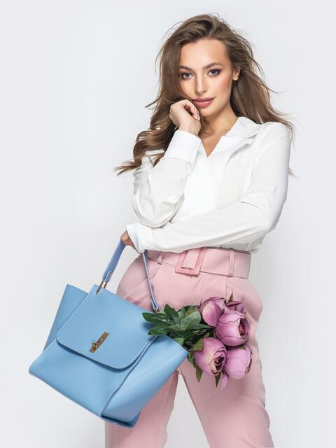 Вместительная сумка голубого цвета на клапане - 21455, фото 1 – интернет-магазин Dressa