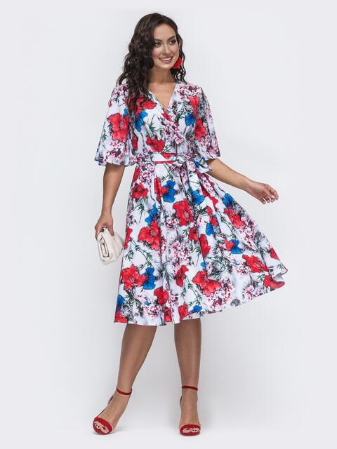 Белое платье большого размера на запах с цветочным принтом 49954, фото 1