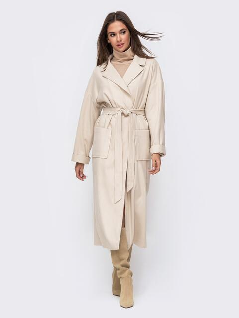 Бежевое пальто на запах с накладными карманами 51158, фото 1