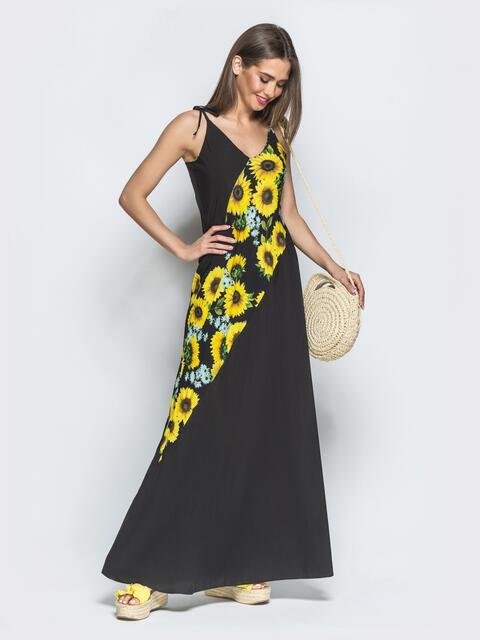 Чёрное платье в стиле oversize с принтованными вставками 39281, фото 1