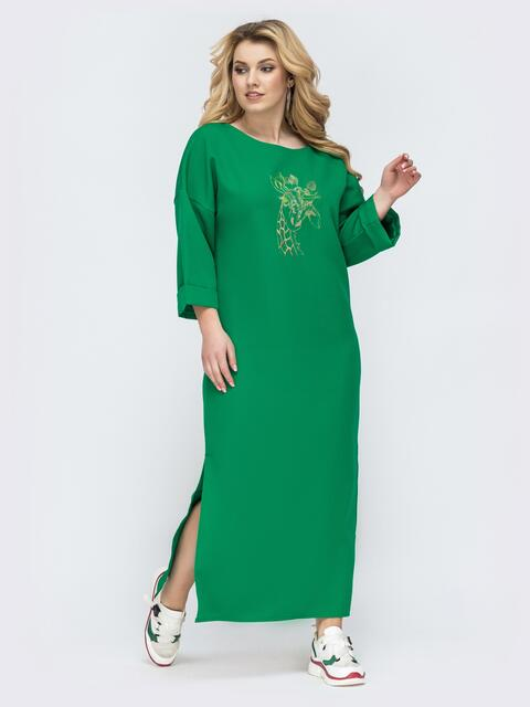 Длинное платье батал с вышивкой зеленое 45186, фото 1
