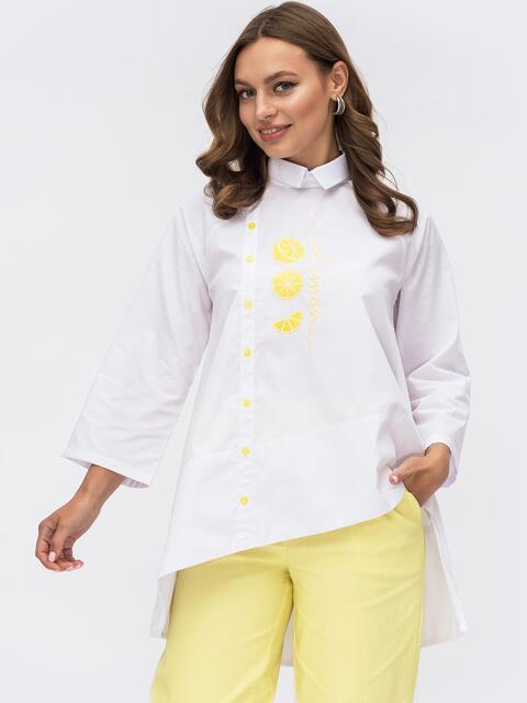 Хлопковая блузка с асимметричным низом белая 53971, фото 1