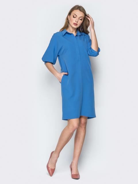 Платье прямого кроя с объемными рукавами голубое 20011, фото 1
