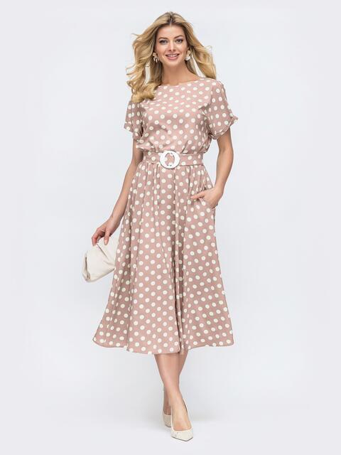 Пудровое платье-клеш в горох с коротким рукавом 54213, фото 1