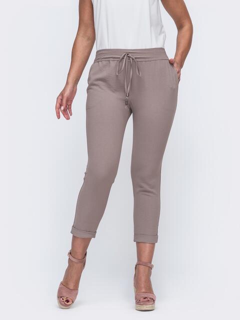 Укороченные брюки большого размера бежевого цвета 50024, фото 1