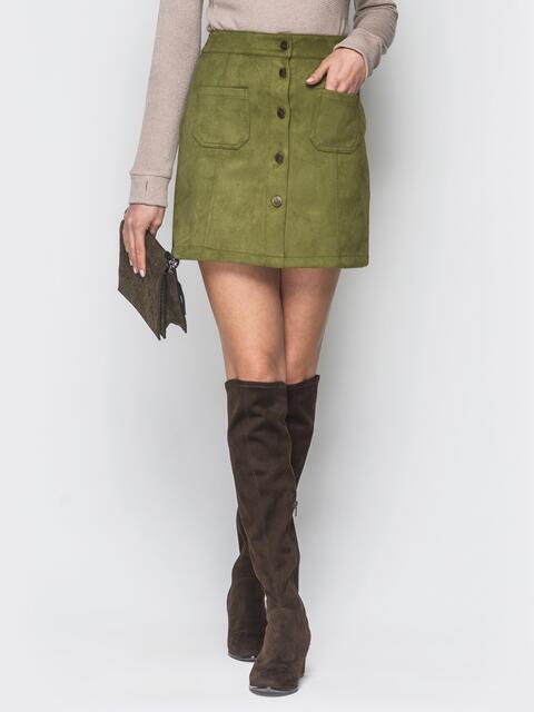 Зеленая замшевая юбка на пуговицах - 18693, фото 1 – интернет-магазин Dressa
