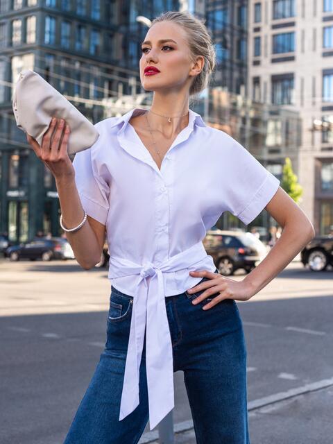 Белая блузка с пуговицами спереди и завязками на спинке 49536, фото 1