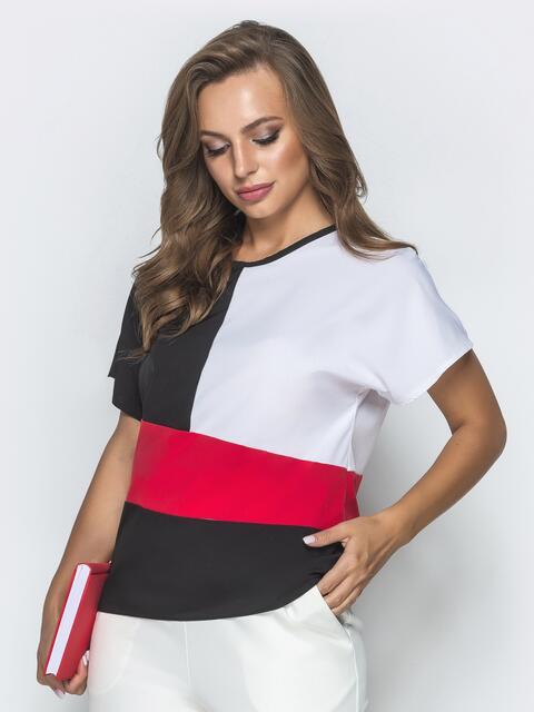 Чёрная блузка из софта с цельнокроеным рукавом - 39659, фото 1 – интернет-магазин Dressa