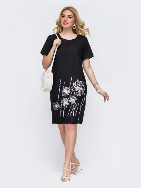 Чёрное платье батал приталенного кроя с принтом 49060, фото 1