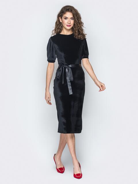 Черное платье из велюра с рукавом-фонарик - 18660, фото 1 – интернет-магазин Dressa