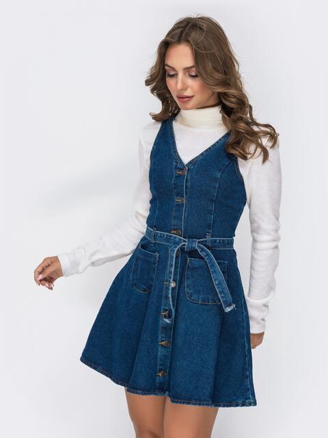 Джинсовый сарафан с расклёшенной юбкой синий - 41908, фото 1 – интернет-магазин Dressa