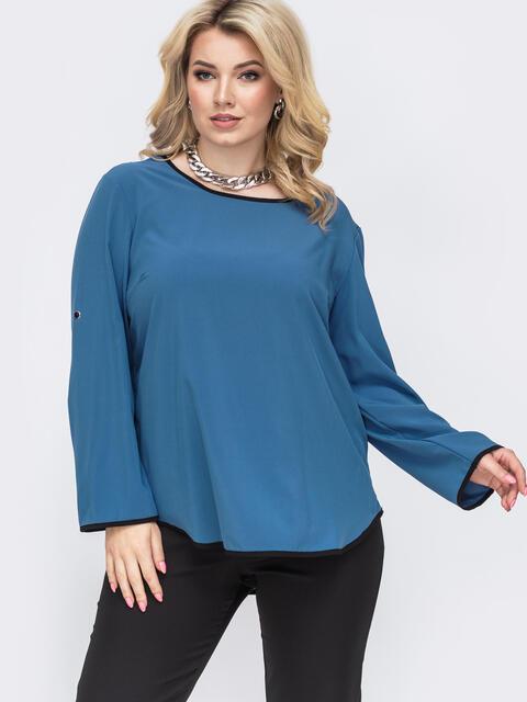 Голубая блузка батал из софта со шлевками на рукавах 49958, фото 1
