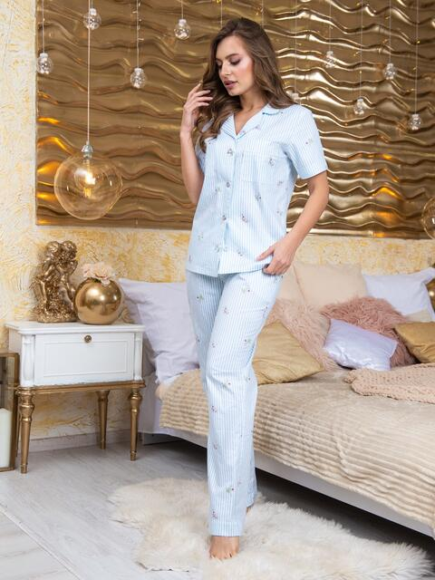 Принтованная пижама из рубашки и брюк голубая - 20707, фото 1 – интернет-магазин Dressa