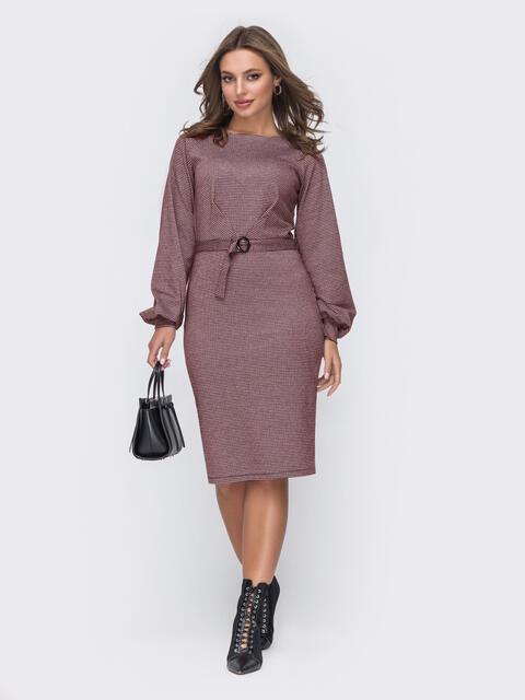 Приталенное платье из трикотажа с объемными рукавами пудровое 52620, фото 1