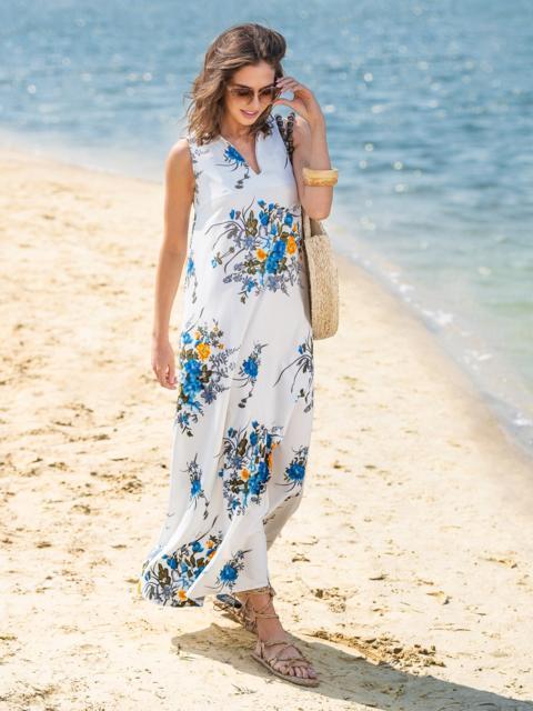 Приталенное платье-макси из софта с синим принтом - 38533, фото 1 – интернет-магазин Dressa