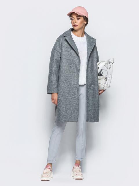 Серое пальто oversize с боковыми карманами в швах - 20326, фото 1 – интернет-магазин Dressa