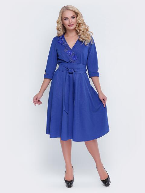 Синее платье с фиксированным запахом и расклешенной юбкой - 19119, фото 1 – интернет-магазин Dressa