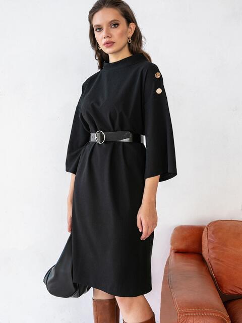 Свободное платье-миди большого размера чёрное 51524, фото 1