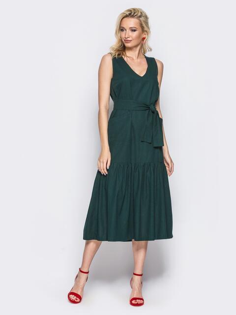 Тёмно-зелёное платье свободного кроя с воланом по низу и поясом в комплекте - 11141, фото 1 – интернет-магазин Dressa