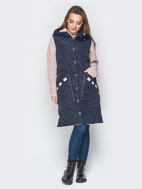 Удлиненный жилет с капюшоном и накладными карманами тёмно-синий - 20256, фото 1 – интернет-магазин Dressa