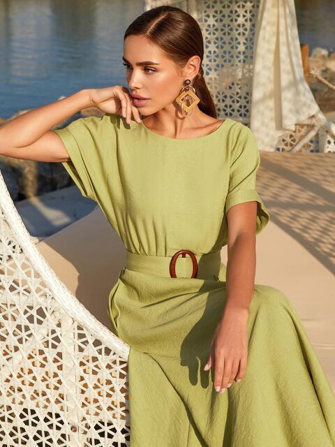 """Зеленое платье-клеш из льна """"жатка"""" с коротким рукавом 54235, фото 1"""