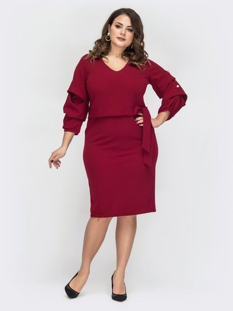 Бордовое платье батал с объемными рукавами - 44609, фото 1 – интернет-магазин Dressa