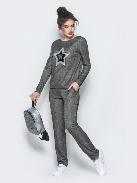 Брючный комплект с люрексом тёмно-серый - 13360, фото 2 – интернет-магазин Dressa