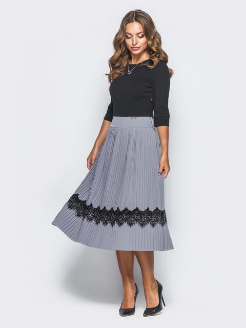 Черное платье с плиссированной юбкой 15776, фото 1