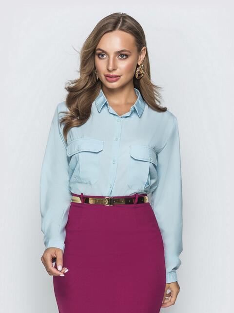 Классическая рубашка голубого цвета с накладными карманами - 39803, фото 1 – интернет-магазин Dressa