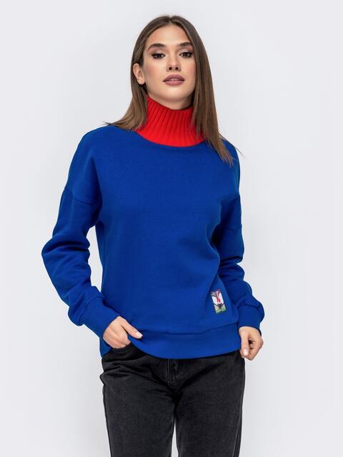 Кофта на флисе с вязаным воротником синяя - 41594, фото 1 – интернет-магазин Dressa
