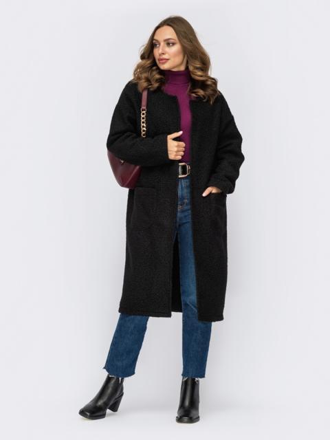 Черное пальто из букле без застежек и подкладки 55276, фото 1