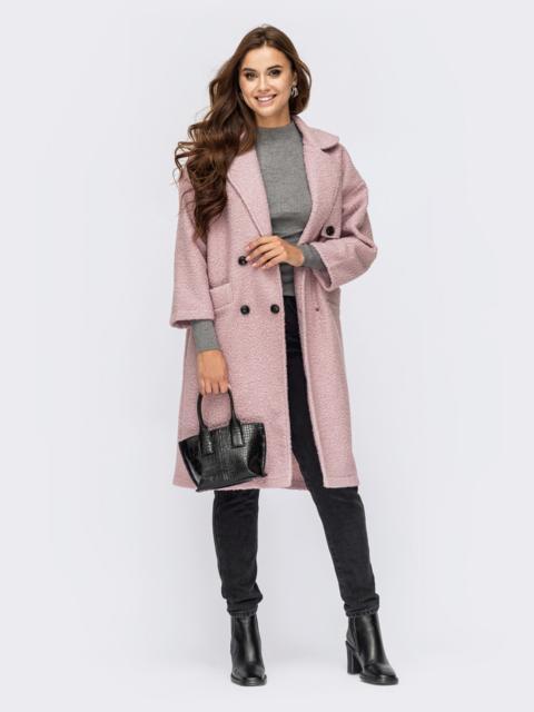 Двубортное пальто из букле розового цвета с лацканами 55277, фото 1