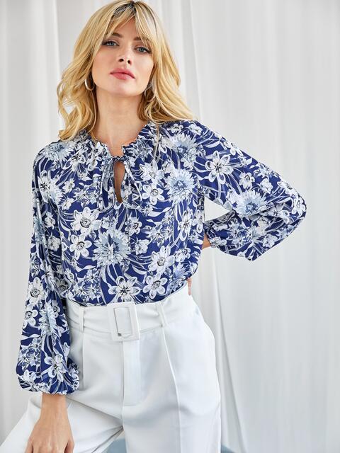 Блузка с принтом и рукавом-реглан тёмно-синяя 50135, фото 1