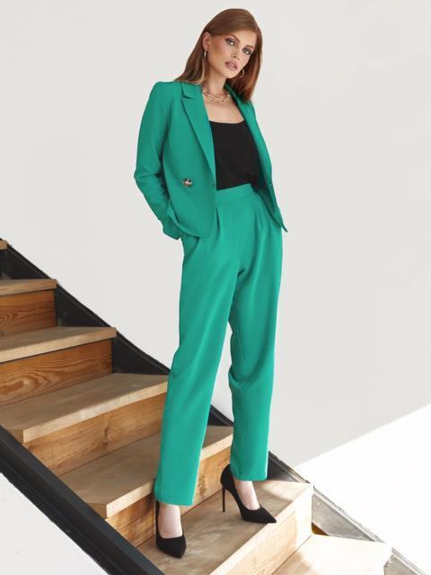 Брючный костюм с укороченным пиджаком бирюзовый 54866, фото 2