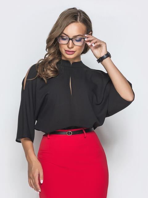 """Чёрная блузка с рукавом """"летучая мышь"""" - 40067, фото 1 – интернет-магазин Dressa"""