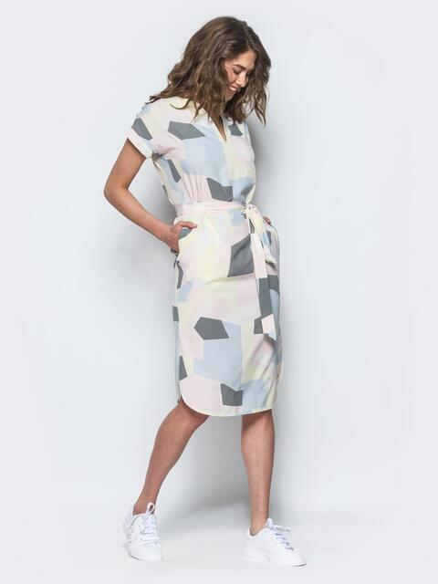 Платье прямого кроя с оригинальным принтом желтое - 10856, фото 1 – интернет-магазин Dressa
