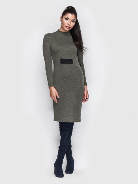 Приталенное платье цвета хаки из ангоры 22159, фото 1