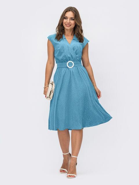 Расклешенное платье в горох с лифом на запах бирюзове 54024, фото 1