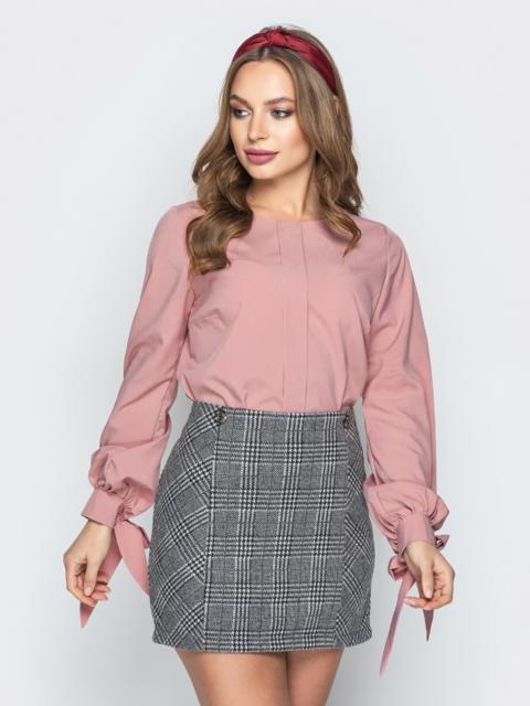Розовая блузка с бантами на манжетах - 20199, фото 1 – интернет-магазин Dressa