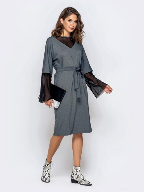 Серое платье с цельнокроеным рукавом и фатиновыми вставками - 40952, фото 1 – интернет-магазин Dressa