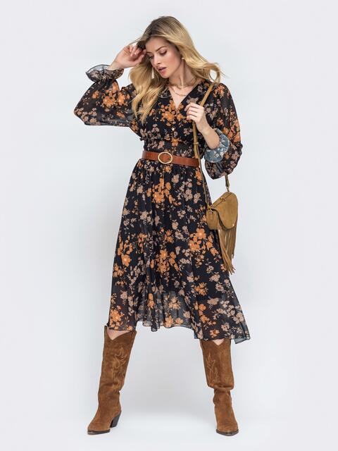 Шифоновое платье с широкой резинкой по талии 45457, фото 1
