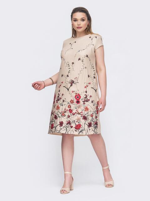 Бежевое платье батал с цветочным принтом 46423, фото 1