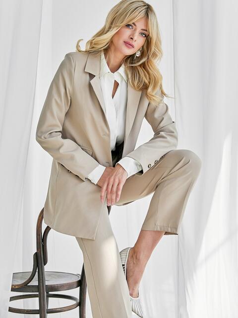 Бежевый комплект с пиджаком и брюками на молнии 50466, фото 1