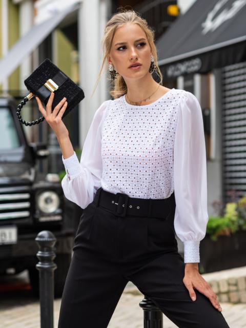 Блузка из прошвы с шифоновыми рукавами белая 54690, фото 1