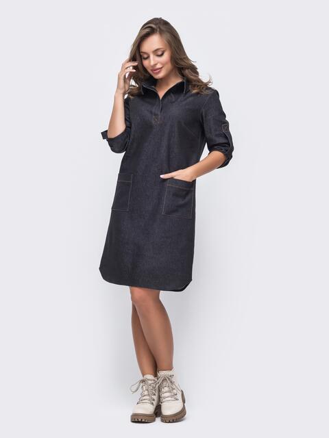 Чёрное платье из облегчённого денима 51632, фото 1